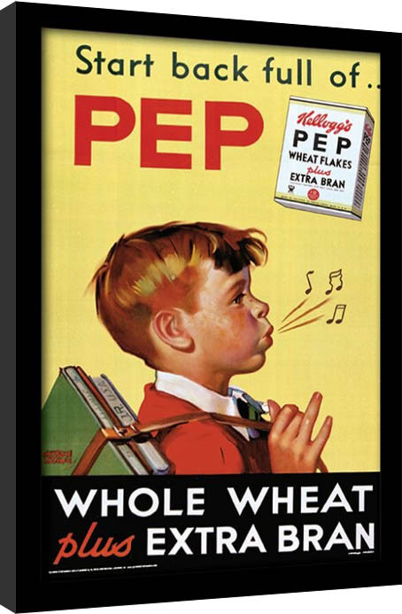 Vintage Kelloggs - Start Back Full Of Pep gerahmte Poster