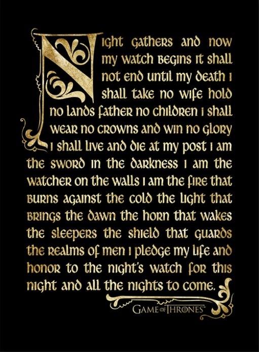 Indrammet plakat GAME OF THRONES 3 - nightwatch