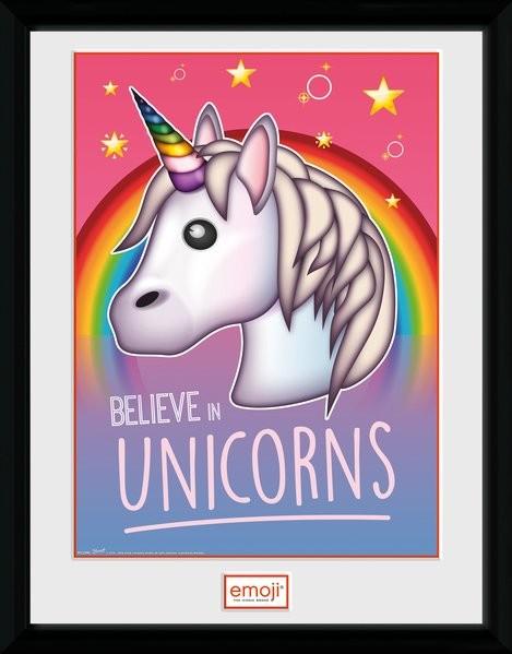Fremragende Unicorn - Belive In Unicorns indrammet plakat, Billede på WI78