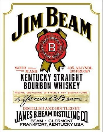 Metallschild JIM BEAM - white label
