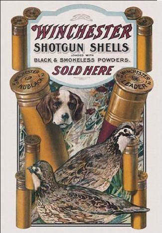 Metallschild WIN - dog & quail