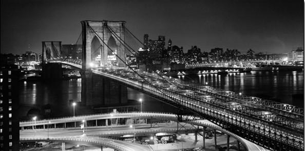 Brooklyn bridge at night Reproduction d'art