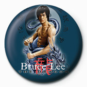 BRUCE LEE - BLUE DRAGON button