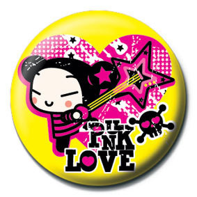 PUCCA - yellow punk love button