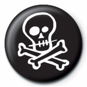 Skull & Crossbones (Zwart Wit) button