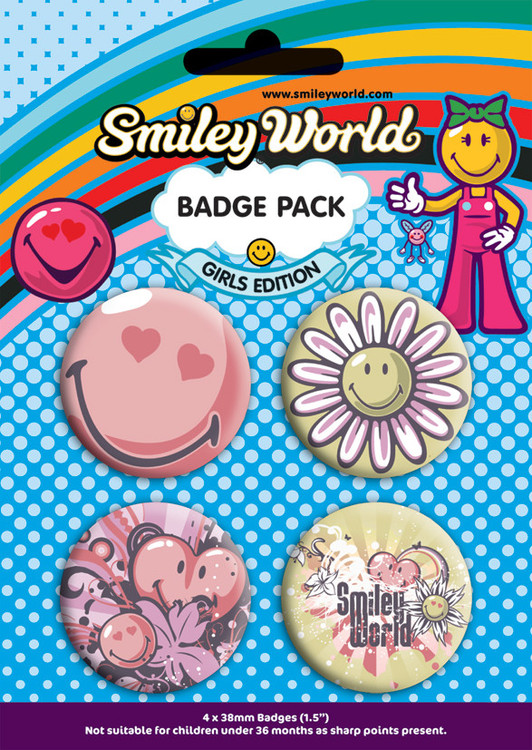 Button SMILEY - girls pack