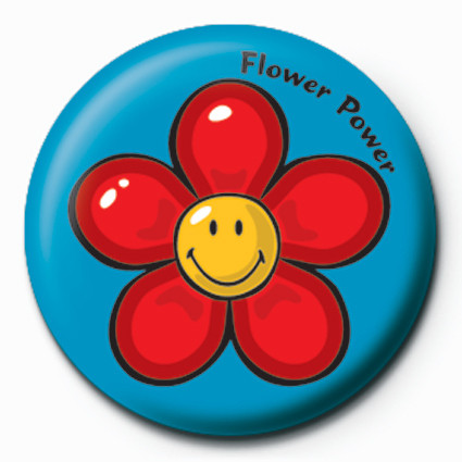 Smiley World-Flower Power button