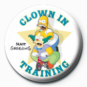 THE SIMPSONS - clown in training button