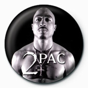 Tupac (Zwart Wit) button