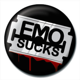 Button EMO SUCKS - Razor blade