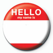 Button HELLO, MY NAME IS