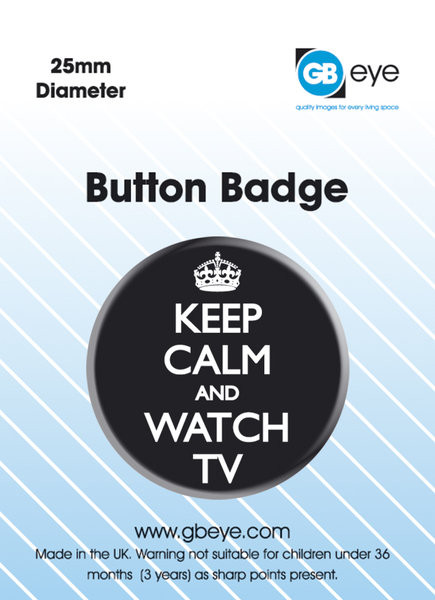 Button Keep Calm and Watch TV