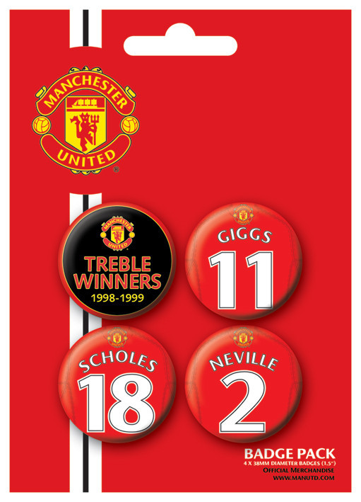 Button MANCH. UNITED - Treble winner