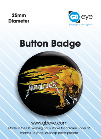 Button Metallica Flaming