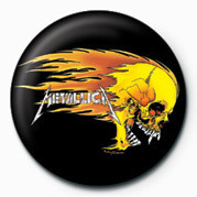 Button METALLICA - FLAMING SKULL