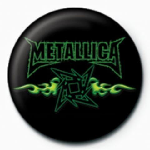 Button METALLICA - green flames GB