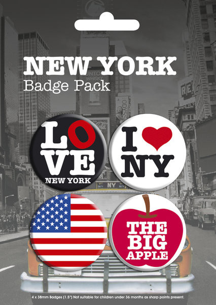 Button NEW YORK - pack 1