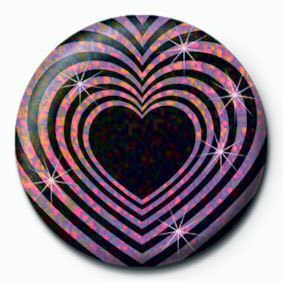 Button  OP HEART - Black and pink