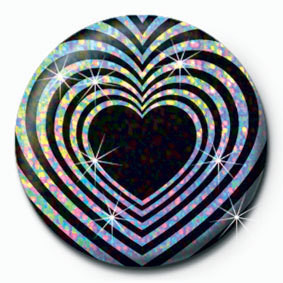 Button OP HEART - Black and silver