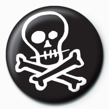 Button Skull & Crossbones (B&W)