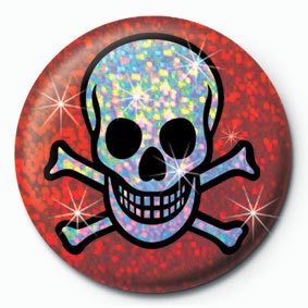 Button SKULL AND CROSSBONES - red
