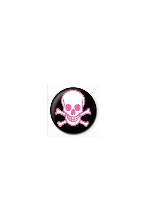 Button SKULL - pink schädel