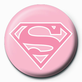 Button SUPERMAN - logo/pink