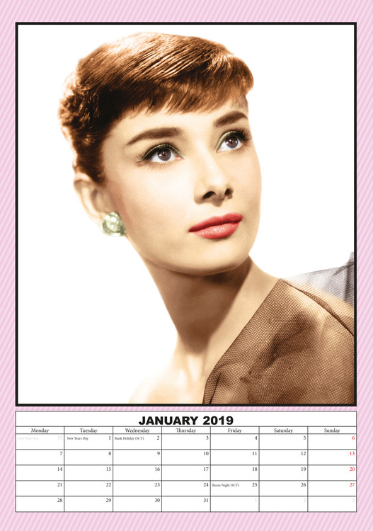 Audrey Hepburn Calendar 2019