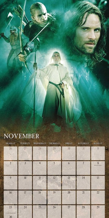 The Lord Of The Rings Calendar 2018