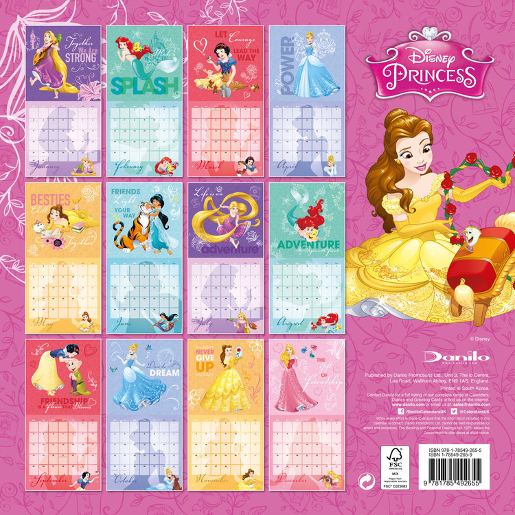 Mini Calendario 2020 Da Stampare.Calendario 2020 Disney Princess