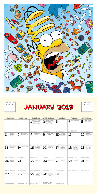 Mini Calendario 2020 Da Stampare.Calendario 2020 I Simpson