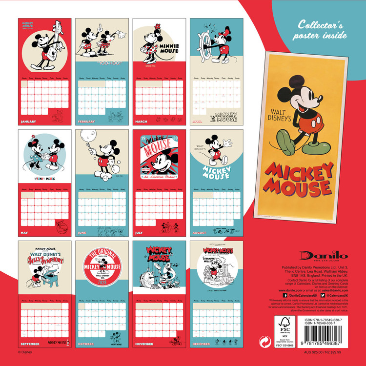 Calendario 2019  Mickey Mouse 90th Anniversary
