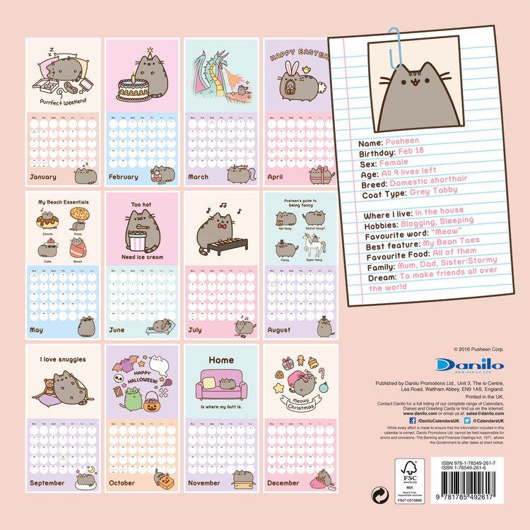Mini Calendario 2020 Da Stampare.Calendario 2020 Pusheen