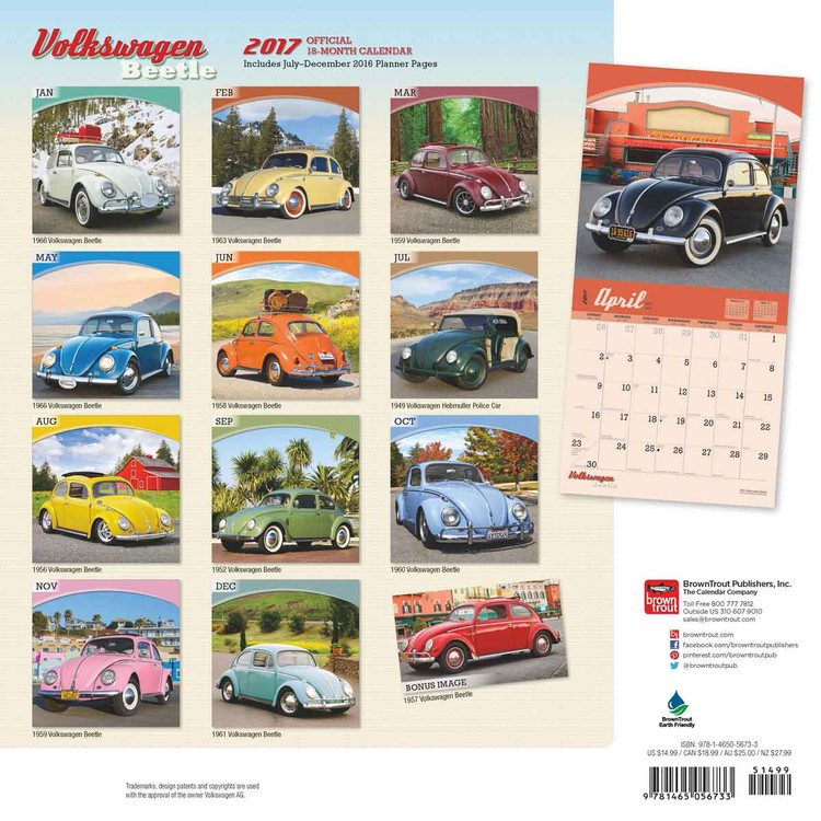 Calendario 1958.Calendario 2020 Volkswagen Beetle
