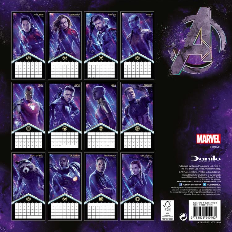 Calendar 2020 Avengers: Endgame