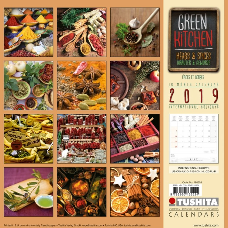 Calendar 2019  Green Kitchen - Herbs & Spices
