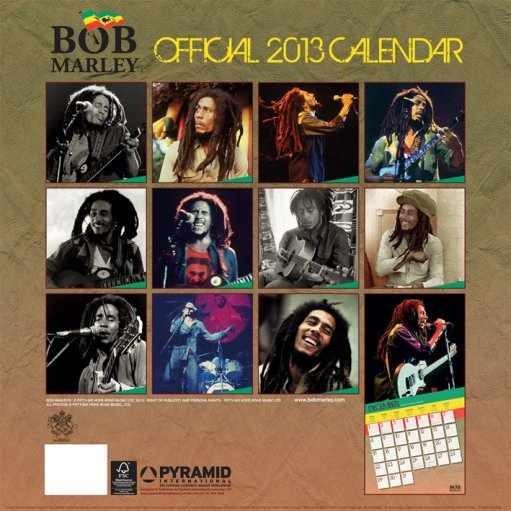 Calendar 2019  Kalendář 2013 - BOB MARLEY