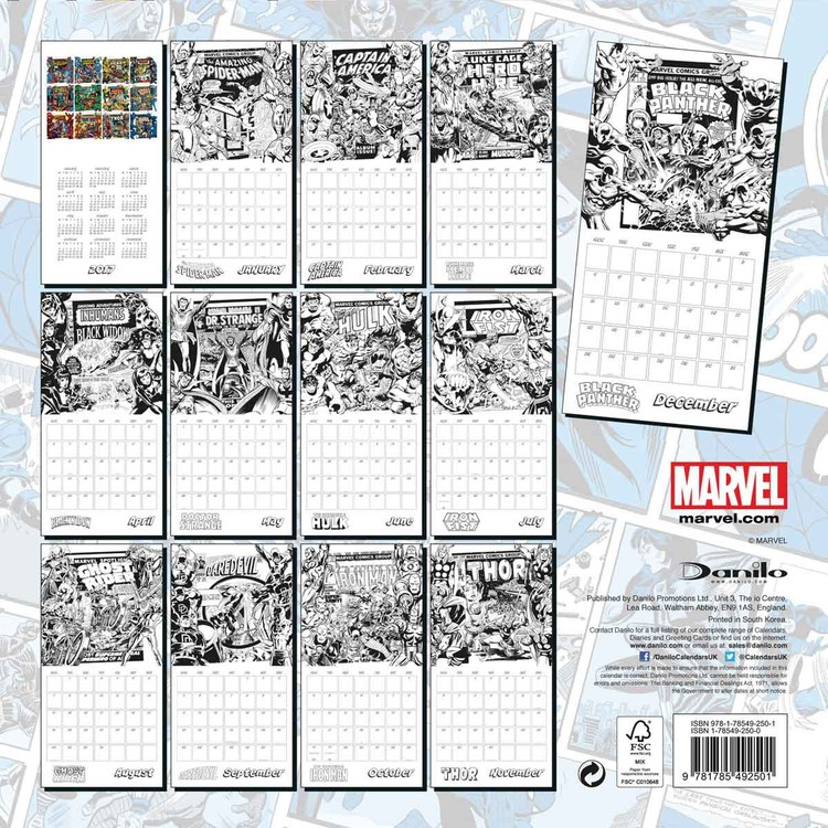 Calendario Vino 2020.Calendar 2020 Marvel Comics