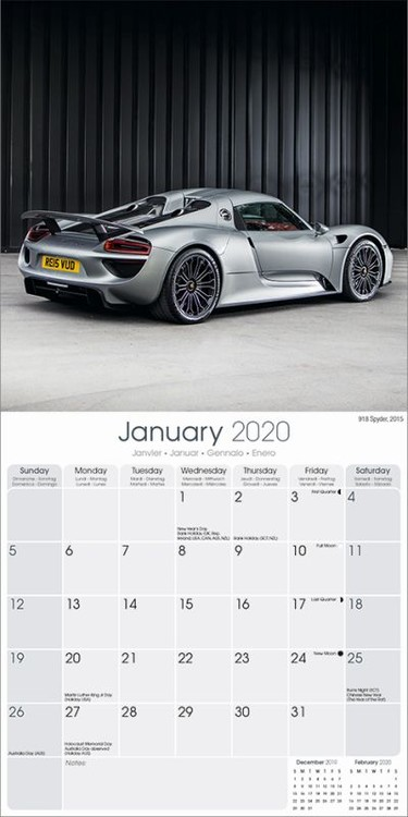 Calendar 2020 Porsche