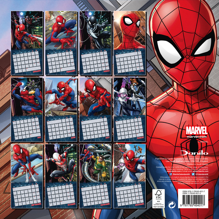 Calendar 2019  Spiderman