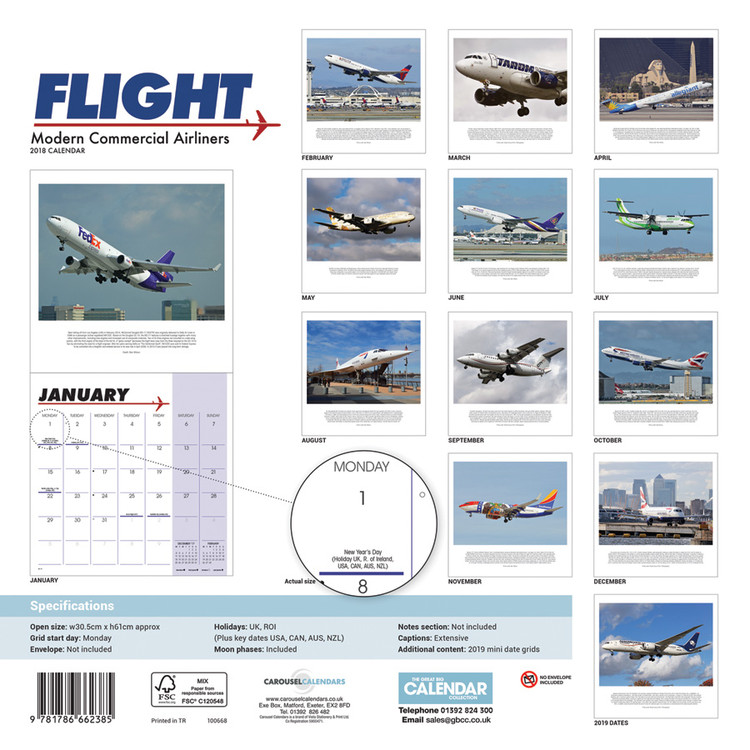 Calendrier Commercial 2022 Flight, Modern Commercial Airliners   Calendriers 2022   Achetez