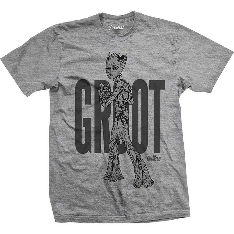 Camiseta  Avengers - Infinity War Teen Groot Line Art