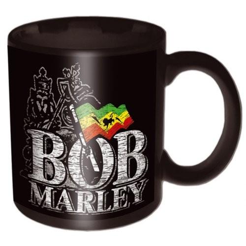 Bob Marley – Distressed Logo Black Cană