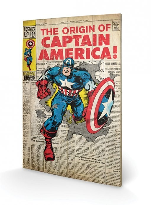 Poster su legno Captain America - Madbomb