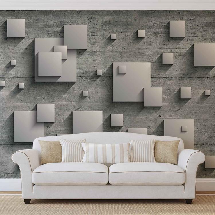 Carta da parati astratto moderno argento grigio for Carta parati argento