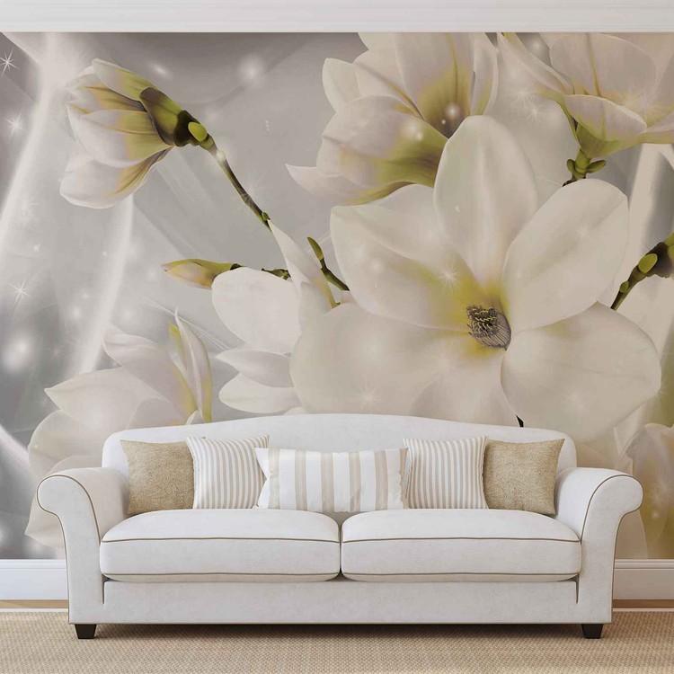 Carta da parati fiori bianchi for Carta da parati 3d fiori