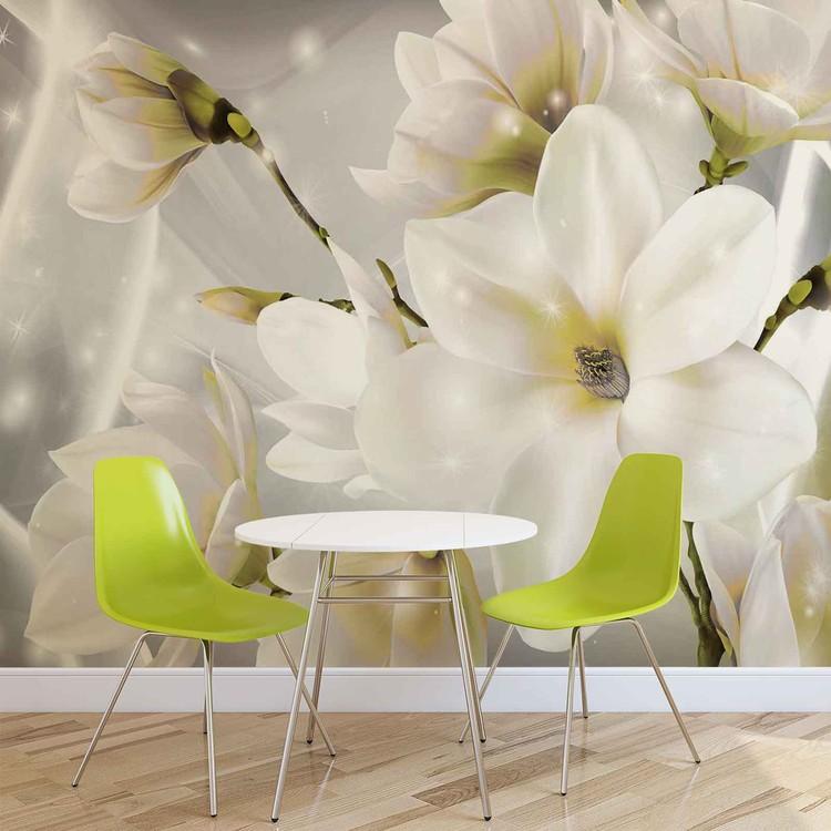 Carta da parati fiori bianchi for Carta parati fiori