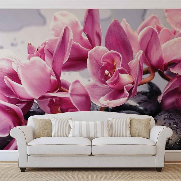 Carta da parati fiori orchidee pietre zen for Carta parati fiori