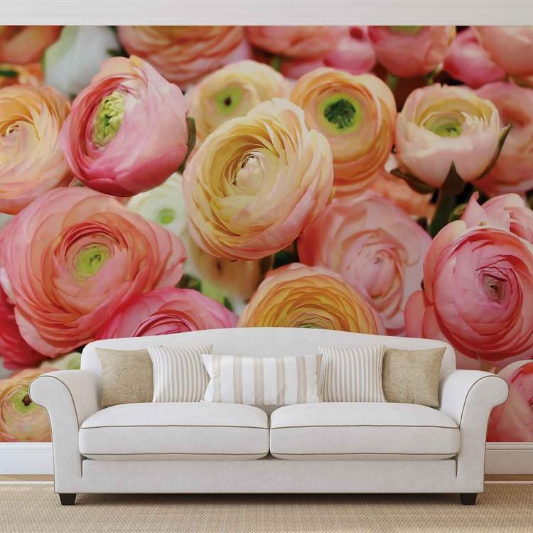 Carta da parati fiori peonie colorate for Carta parati fiori