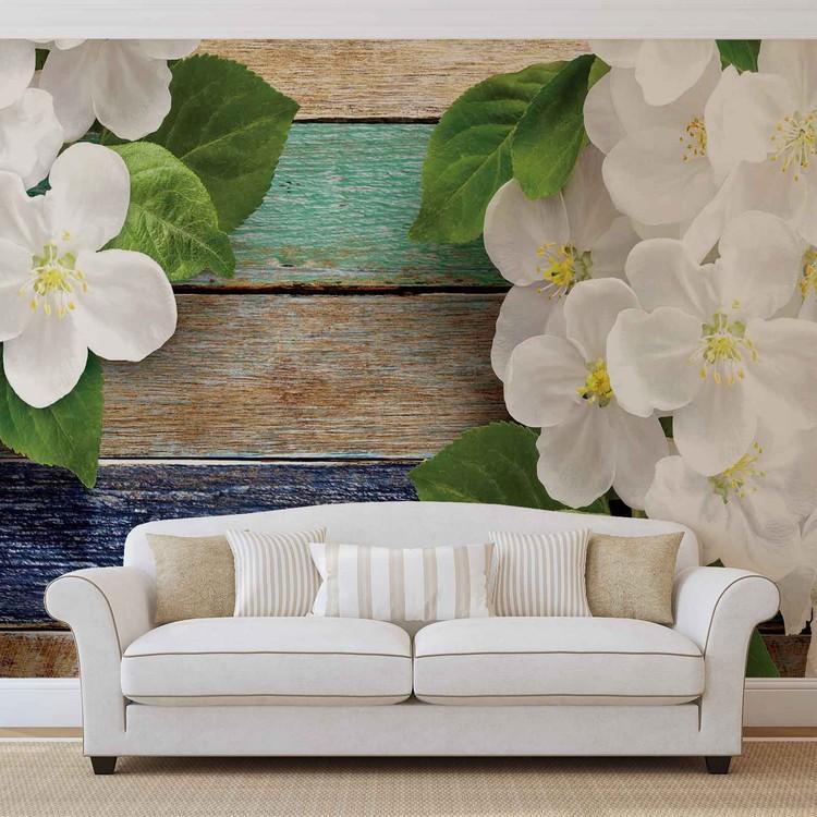 Carta da parati fiori recinzione legno for Carta da parati 3d fiori